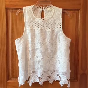 """love j Dress Blouse, Lacy """"Off White"""" NWOT"""